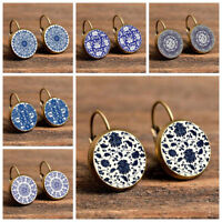Women Ethnic Blue and White Porcelain Round Leaverback Earrings Jewelry Latest