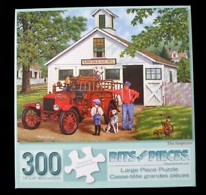 """Bits and Pieces 300 large pc.puzzle """"The Inspector"""" vintage firetruck"""