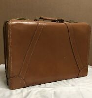 """RARE Vintage Cruisaire 21"""" Brown Leather Briefcase, Unique and Quality"""