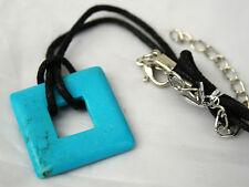 Large Blue Turquoise Square Crystal Gemstone Pendant Necklace Reiki Blessed