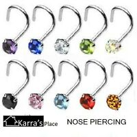 SET OF 2 NOSE PIERCINGS  SCREW STUDS 1.8MM STAINLESS STEEL BODY PIERCING