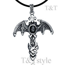 High Quality TTstyle 316L Dragon Sword Stainless Steel Pendant Black Onyx