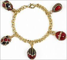 "Gold Plated Faberge Inspired Russian 5 Egg Pendant Red & Black Bracelet 7.5"" L"