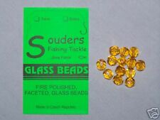 7mm Round, Faceted, Fire Polished Glass Beads - Amber