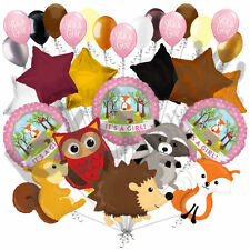 29pc Woodland Creatures It's a Baby Girl Animal Balloon Bouquet Party Decoration