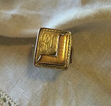 Antique Squad Rule Gold Silver 925 Man Ring Sz 10 Monogram RN 21 grams