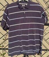 IZOD Shirt Men's Pima Cotton Golf Blue Striped Polo Short Sleeve 100%