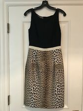GIAMBATTISTA VALLI Leopard Print/Black Sheath 40 Small