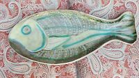 Vintage Decorated Fish Shaped Ceramic Platter Blue Stripe W/Dots Sign 'MV 1952'