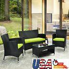 Patio Furniture Set Outdoor Garden Sofa Conversation Cushion Armchair Table 4pcs