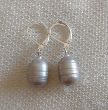 10-12 mm grau Süßwasser Perle Hebel zurück Ohrringe