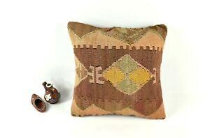 Kilim Pillow Cover 14x14 Vintage Home Decorative Sofa Couch Cushion A2461