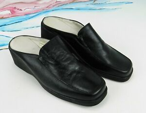 WOMENS CLASSIC MULE UK4 BLACK LEATHER WEDGE LOAFER SLIP ON LADIES SANDAL SHOE