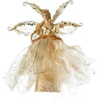 Gold Fairy Christmas Tree Topper with Ceramic Head Decoration