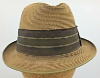 df48d6d56437b Vintage Towncraft 50's 60's Mens Fine Braid Straw Fedora Trilby Hat Size ...