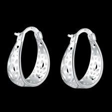 Hot 925Sterling Solid Silver Jewelry Lovely Graven Hoop Earrings For Women E631