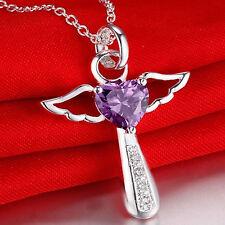 "925 Silver Pltd Guardian Angel Purple CZ Heart Crystals Pendant 18"" Necklace -A1"