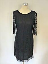 MONSOON BLACK LACE 3/4 LENGTH SLEEVE SHIFT DRESS SIZE 10