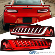 For 16-18 Chevy Camaro Red Lens LED Sequential Tail Lights Tinted Turn Signal
