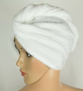 Hair Towel Wrap White Cotton Twist Super Absorbent With Non Slip Loop