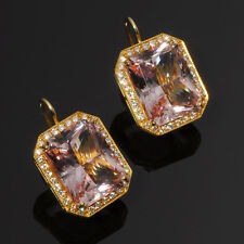 High Quality Hand Made Large Radiant Cut Pink Morganite Earrings with Diamonds