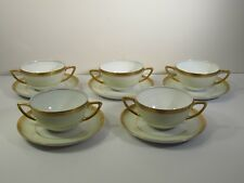 SET/5 ROSENTHAL / SELB PORCELAIN CREAM SOUPS / UNDERPLATES - AIDA -#1508 GOLD