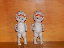 2 Vintage Miniature Bisque Porcelain Dolls Hinged Arms