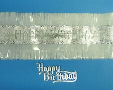 WHITE HAPPY BIRTHDAY CAKE FRILL & SILVER MOTTO - decoration / decorating