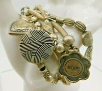 Lia Sophia Multi Strand Heart Circle Love Joy Hope Charm Silver Tone Bracelet