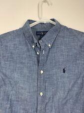 Boys Polo Ralph Lauren Long Sleeve Chambray Blue Shirt XL 18-20 Mens Small