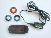 Sony PSP 1001 Console Bundle 2 Games 1 Movie Charger Tested Black New Battery