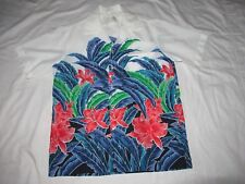 Resort Line Hawaiian Shirt Vtg Floral Print Collar Blue Made In USA Mens medium