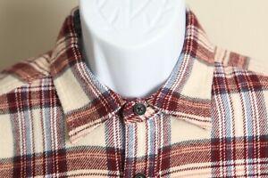 Alex Mill Men's beige, burgundy and blue plaid long sleeve shirt Medium M