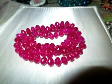 Beautiful faceted and knotted 8mm natural Brazil rose ruby necklace