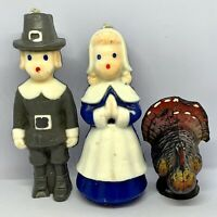 Vintage Gurley Thanksgiving Candle Lot, Pilgrim Pair Man, Woman, Turkey