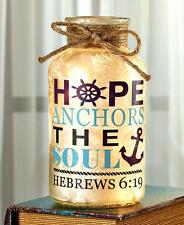 Light Mason Glass Jar Hope Anchors The Soul Scripture Rustic Country Home Decor