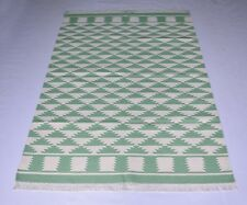 Indian Geometric Green Color Cotton Home Decorative  Area Rug 4x6 Feet DN-1093