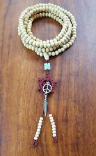 Mala Beads Peace Symbol Feather Buddhist Bracelet Necklace Cream Wooden Yoga 🕉