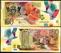 TRINIDAD & TOBAGO 50 DOLLARS 2015 REVISE P 59 POLYMER UNC
