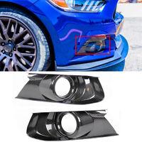 Pair Real Carbon Fiber Front Bumper Fog Light Bezel Cover For 15-18 Ford Mustang