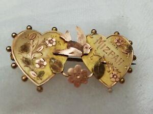 Antique Victorian 9ct Gold Double Heart Sweetheart MIZPAH Brooch Hallmark 1897