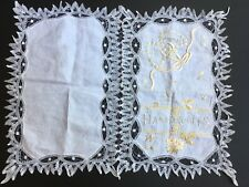 Antique 1904 Silk Embroidery Battenberg Lace Handkerchief Holder New Orleans