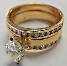 .90ct Marquis Center Stone, Approx 1.85Ctw Women's 14K Yellow Gold Wedding Set,