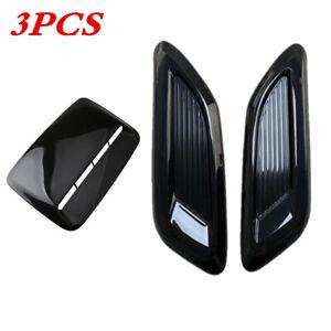 Car Decor Center Side Air Flow Intake Hood Scoop Vent Bonnet Cover Glossy Black