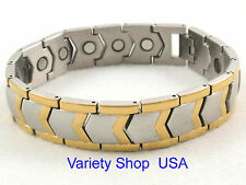 Stainless Steel Magnetic Bracelet 2 Tone Gold Plated 85,000 Gauss SS130-2T