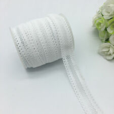 "5yards 5/8""16mm Bilateral Lace Grid Fold Over Elastic Spandex Lace Band White"