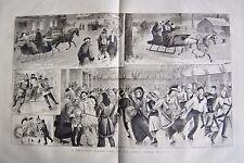 1880 antica stampa-un Pattinaggio Carnevale, Halifax, Nuova Scozia
