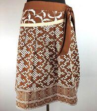 Nanette Lepore Women Skirt 4 A Line Brown White Embroidered Geometric Cotton USA