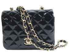 Chanel Black Mini Patent Leather Quilted Flap Bag Gold Chain