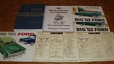 1952 Ford Car Shop Service Manual Owners Manual Sales Brochure 17 Piece Lot 52